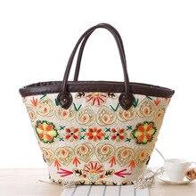 2016 Yarn Embroidery Pattern Straw Shoulder Bags for women Girl's Summer Beach Straw bag Big Designer Tote bag shopper bag L223