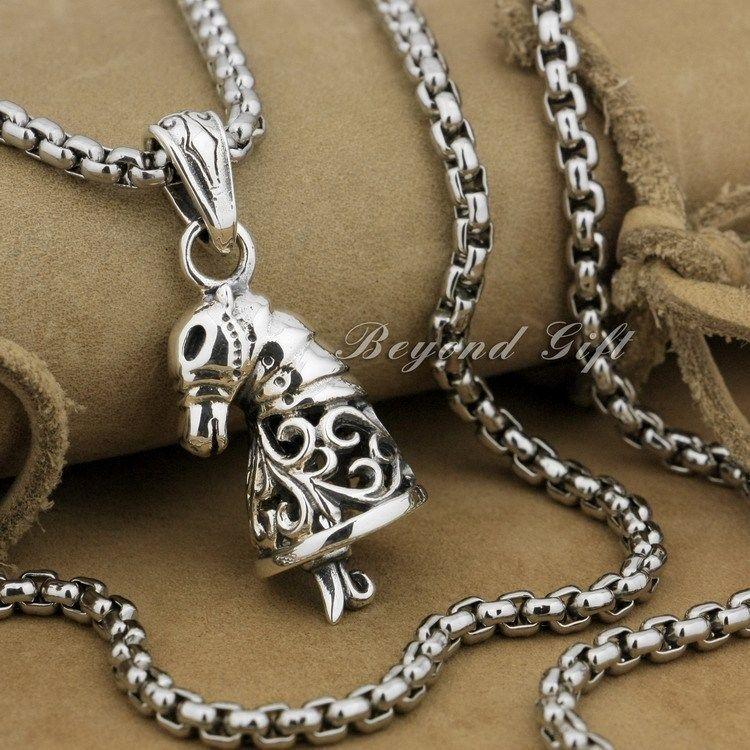 Pendentif en argent Sterling 925 avec pendentif en forme de cloche 9R004 (collier 24 pouces)