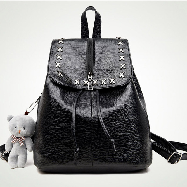 Korean rivet fashion women's backpack soft pu leather backpacks leisure student school bag cute girls backpack with bear pendant