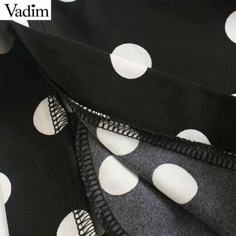 Вадим женское стильное платье в горошек с v-образным вырезом комбинезон с длинными рукавами Пояс, карманы на молнии сзади; женская шикарная Повседневная комбинезон черного цвета, KB061