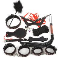 10pcs Collar Bdsm Bondage Restraints Sex Toys for Woman Hand Cuffs Fetish Masks Slave Ankle Cuffs Adult Games Mouth Gag Whip Hot