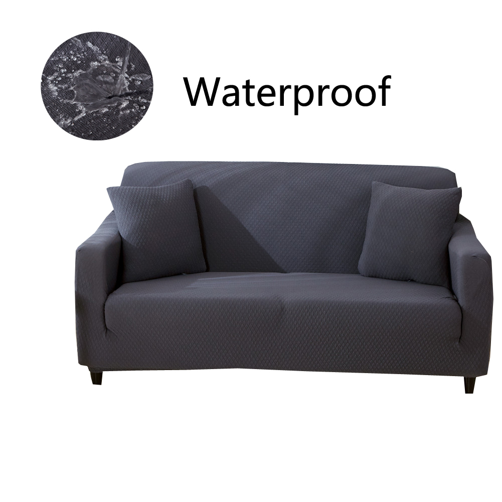 Waterproof Fabric Elastic Sofa Cover Thick Knit Plaid Stretch Slipcover 8 Solid Colors Universal Spandex Couch