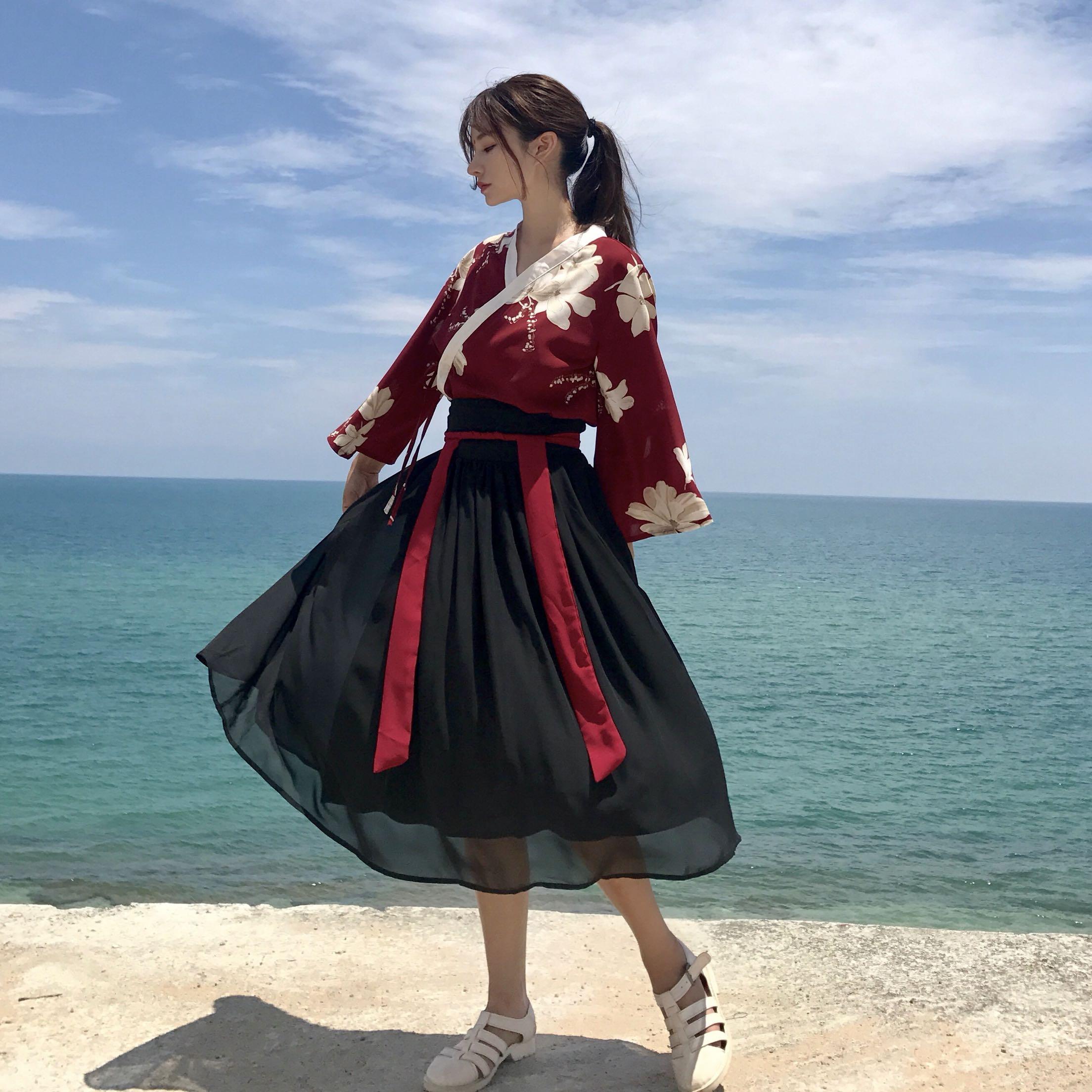Femmes printemps et été marque de mode chine Style Vintage Hanfu ancien ensemble fleur imprimé chemise noir gaze jupe Cosplay tissu