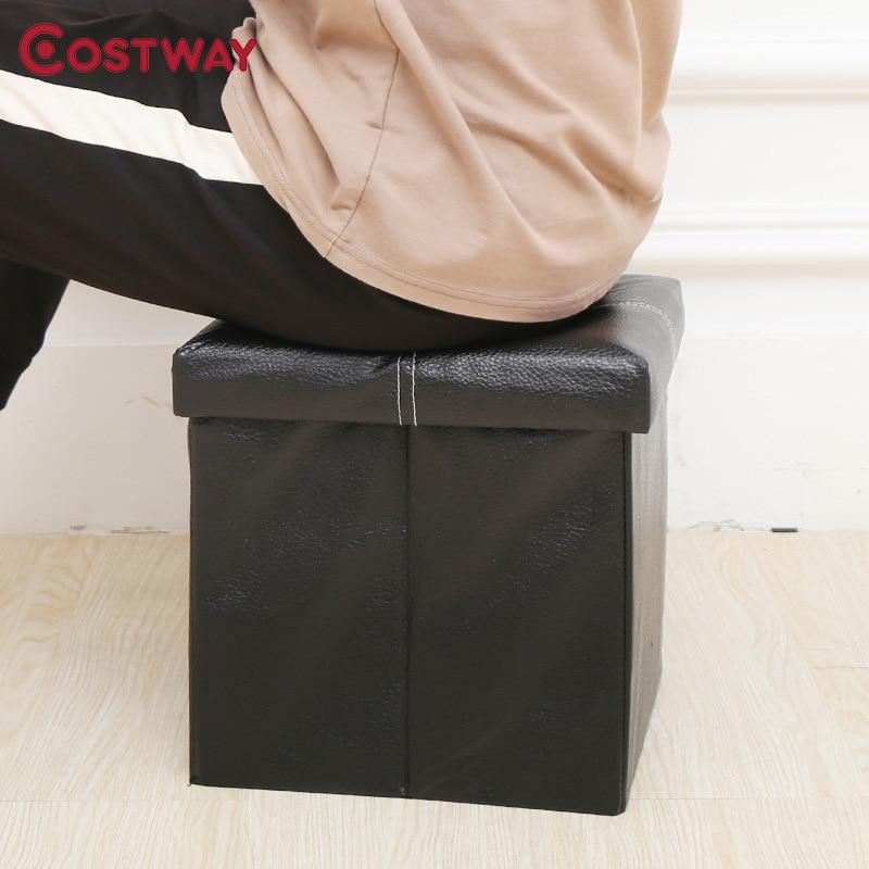 COSTWAY Multi-function PU Folding Storage Stool Sit Box Shoes Stool Storage Box Organizer Home Decoration W0136