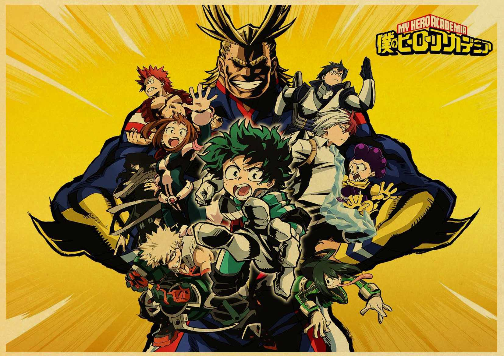 Japanese Anime My Hero Academia Retro poster Home decoration Kraft Poster Painting Wall stickers
