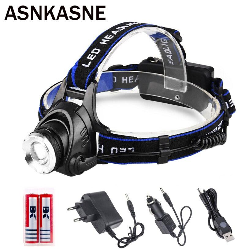 все цены на ASNKASNE Rechargeable Headlamp CREE T6 LED Headlight Waterproof head light 3 Modes Zoomable Head Torch Head Flashlight USE 18650 онлайн