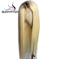 Sunnymay T#4/613 Blonde Lace Front Wig With Baby Hair Pre Plucked Lace Front Human Hair Wigs With Dark Roots Remy Ombre Wigs