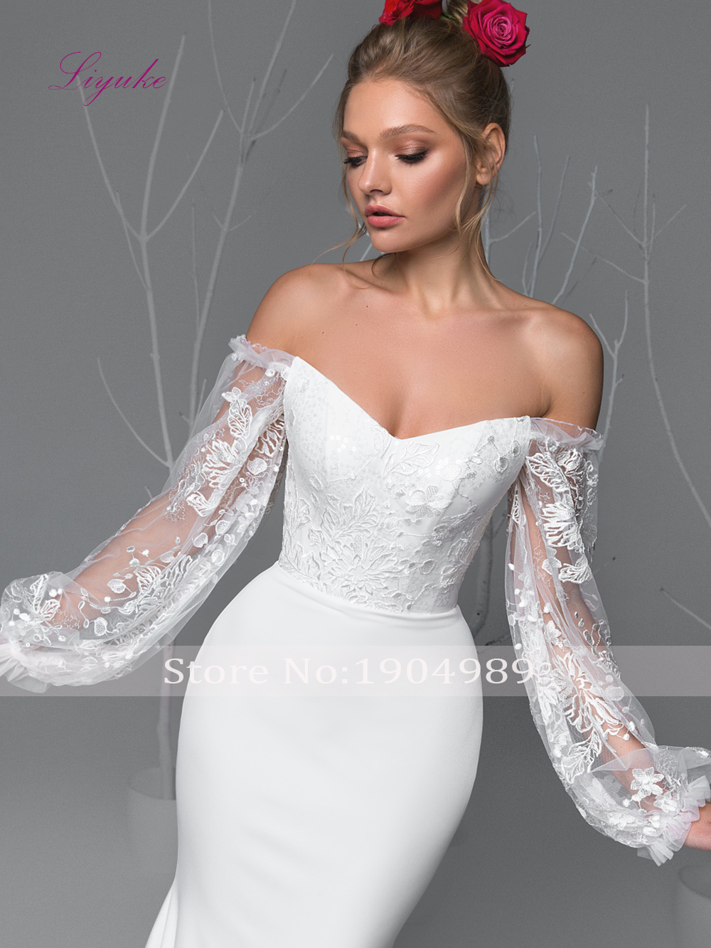 Liyuke 2019 New Sheath Wedding Dress Soft Stain Lace long sleeves collar Neck Appliques