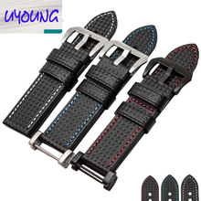 24mm  High quality Genuine leather Watch Strap Carbon fiber grain  for SUUNTO  CORE ESSENTIAL  free shipping