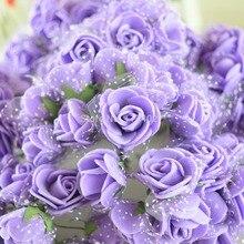 144pcs/lot Multicolor PE foam mini flower Bouquet solid color artificial Lace rose wedding decoration