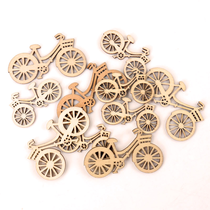 Handmade Wooden Crafts Accessory Home Decoration Scrapbookings DIY Mix Bicycle Wood Ornaments 35*60mm 10pcs