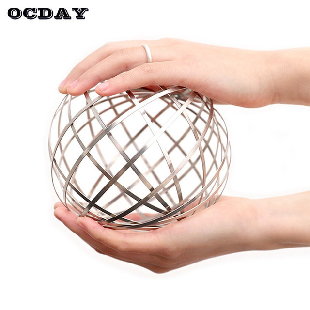 OCDAY Antistress Magic Bracelet Flow Ring Kinetic Spring Toy Stress Relief 3D Sculpture Flowing Ring Toys for Kids Adult Gift