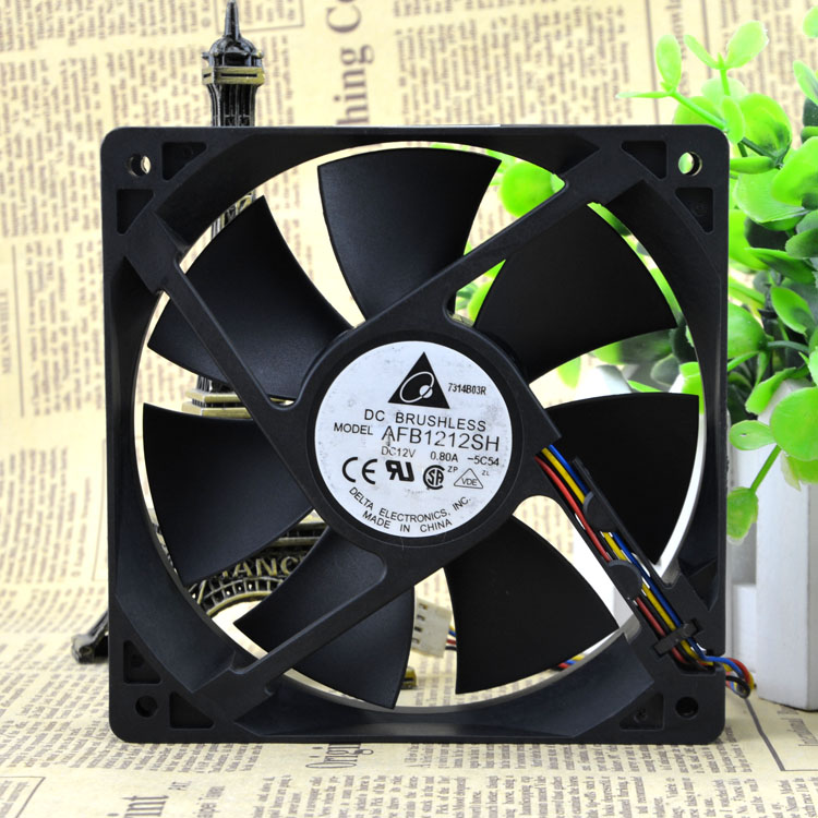 Delta fan AFB1212SH 12CM 120MM 1225 12025 12 * 12 * 2.5CM 120 * 120 * 25MM 12V 0.80A Cooling Fan Good Quality computer water cooling fan delta pfc1212de 12038 12v 3a 12cm strong breeze big air volume violent fan