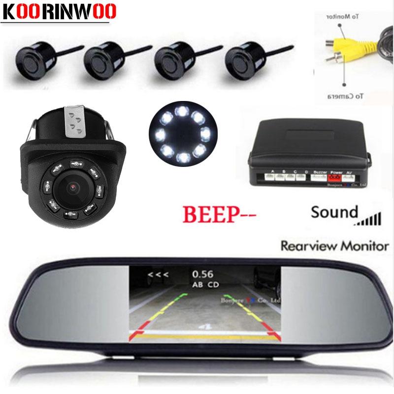 Koorinwoo Parktronic moniteur de voiture double coeur CPU capteur de stationnement de voiture 4 sonde alarme de recul caméra de recul système vidéo RCA