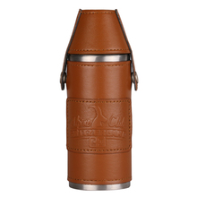 Luxury 8oz stainless steel With Two 1oz Small Cup Hip Flask Leather Wrapped Alcohol Whiskey Liquor Wine Bottle For Men