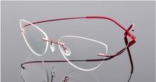 고양이 눈 티타늄 무테 안경 읽기 초경량 여성 합금 무테 안경 돋보기 안경 + 50 + 100 ~ + 600
