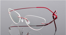 Cat eye titanium randloze Leesbril ultralichte vrouwen legering Randloze bril lezen Presbyope bril + 50 + 100 tot + 600