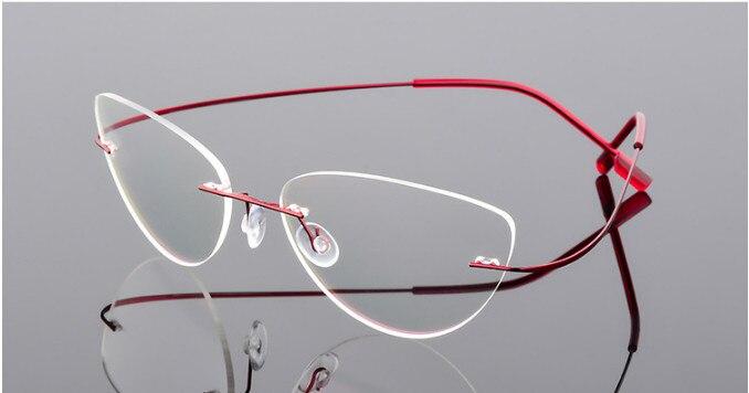 Olho de gato Óculos de Leitura sem aro titanium mulheres liga ultra-leve sem Aro Óculos de leitura óculos para Presbiopia + 50 + 100 a + 600