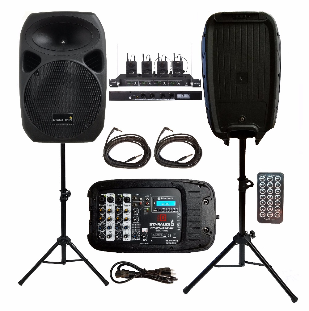 2 STARAUDIO 1500W 10inch PA DJ Party Stage BT MP3 Speakers With 4CH VHF Wireless Mics Stands With Powered Mixer Cables SSD-10A
