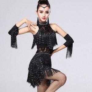 Image 4 - 5 farben Shiny Explosion Latin Dance Kostüm Frauen Fringe Kleid Latin Wettbewerb Kostüme Bühne Tragen Latin Dancewear Salsa Kleid