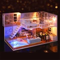 American Style DIY Dollhouse 3D Wooden Mini Meet You House Lifelike Handmade Miniature Toy Furniture Kit For Girls Birthday Gift