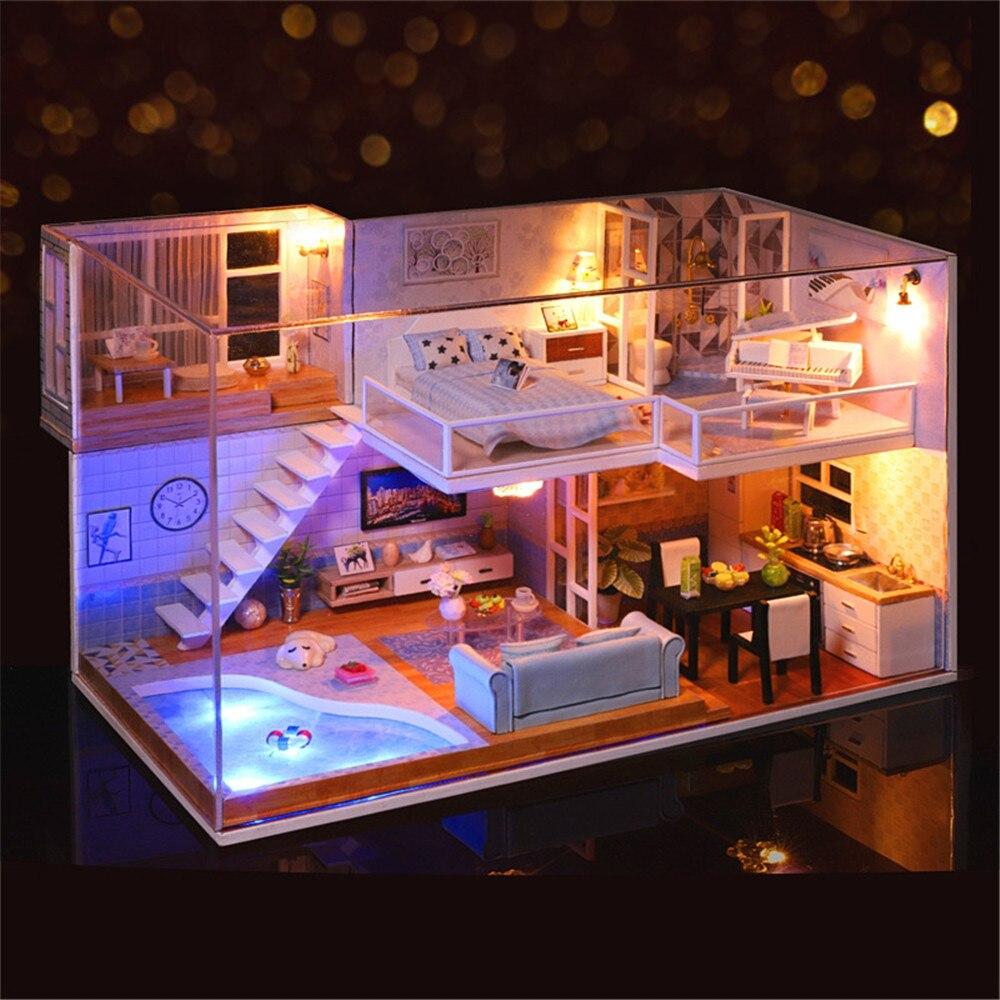 Style américain bricolage maison de poupée 3D en bois Mini vous rencontrer maison réaliste à la main Miniature jouet Kit de meubles pour les filles cadeau d'anniversaire