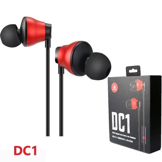 Artista DC1 dinámico y de cerámica en la oreja los auriculares dual-Unidad de Música de alta fidelidad monitor estéreo de 3,5mm para auriculares con micrófono interno