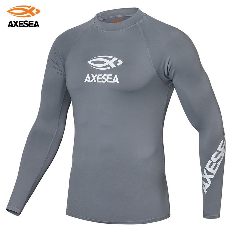 AXESEA Men Swimsuit Long Sleeve Rashguard Sun Protection Swimwear Solid Color Shirt Surf Top Crew Neck UPF50+ Rash Guard
