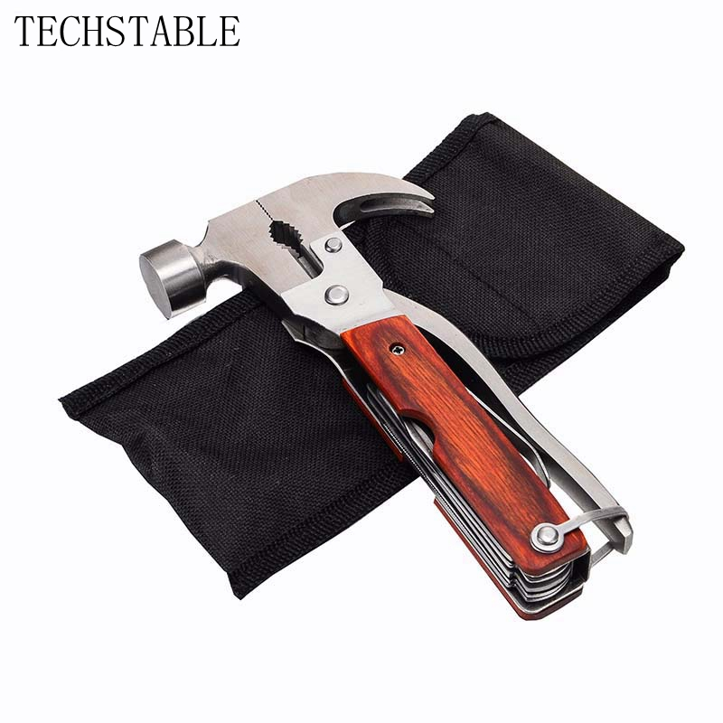 TECHSTABLE Outdoor Multifunctional Claw Hammer Multifunctional Safety Hammer For Camping