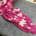 Vintage Style Flower embroidered Women Scarfs Oversized Long Pure Cotton Scarves Ladies Outdoor Casual Retro Shawls Foulard