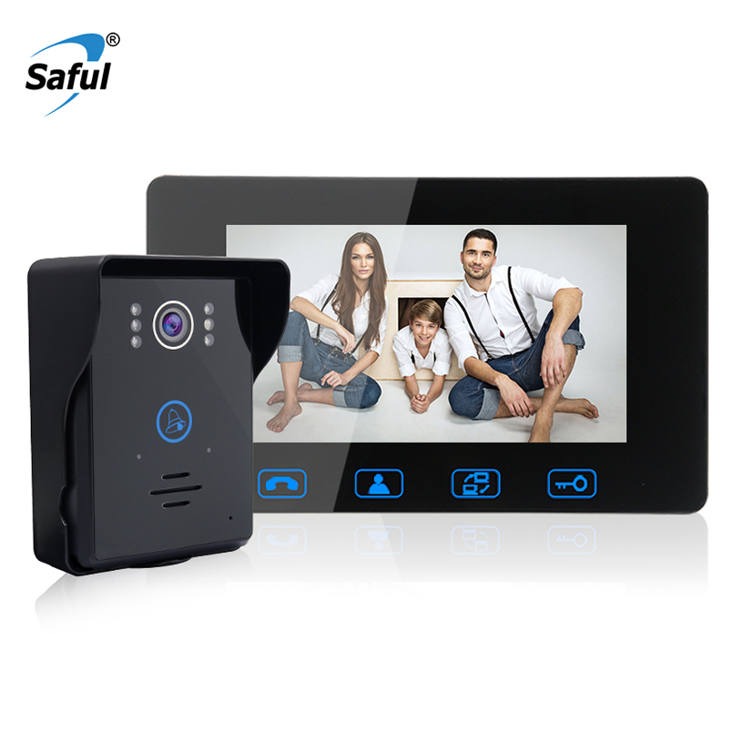 Saful 7'' Wired Video Door Phone Video Intercom Waterproof Touch key with Night Vision For Home security door bell system 7 inch password id card video door phone home access control system wired video intercome door bell
