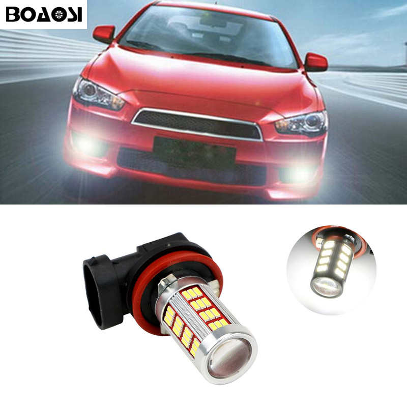 BOAOSI 2x H8 H11 4014SMD LED Fog DRL Light Bulb Lamp For Mitsubishi Lancer 2010-2014 Mitsubishi Asx Car Styling boaosi 2x high power h11 4014 led fog light bulbs for toyota prius camry 2007 2014 corolla 2011 2014 car accessories