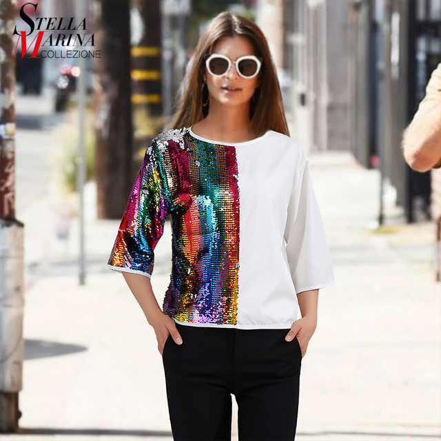 New 2018 Euro Women Black White Tee Tops Hit Color Style Sequined Half  Sleeves Girls Unique ade103e7ecd3