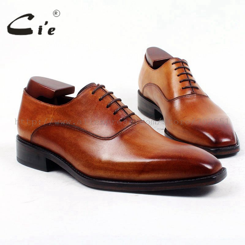 cie Square Plain Toe Custom Bespoke Handmade 100%Pure Genuine Calf Leather Casual Lacing Men's Dress Business Leather Shoe OX421 cie square toe plain handmade men s lacing derby 100