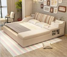 Bed couch couch rice storage cloth art bed 1.8 meters of double bed can unpick and wash cloth
