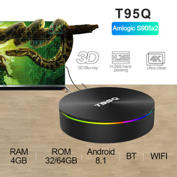 T95Q Android 8.1 TV Box 4G32 4G64G  LPDDR4 Amlogic S905X2 Quad Core 2.4G&5GHz Dual Wifi BT4.1 1000M H.265 4K Media Player tv box 1