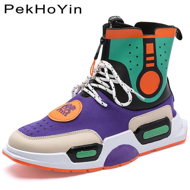 Высокие брендовые осенние Для мужчин повседневная обувь модные кроссовки обувь мужская обувь на плоской подошве черный Мужские ботильоны прогулочная Обувь Zapatillas