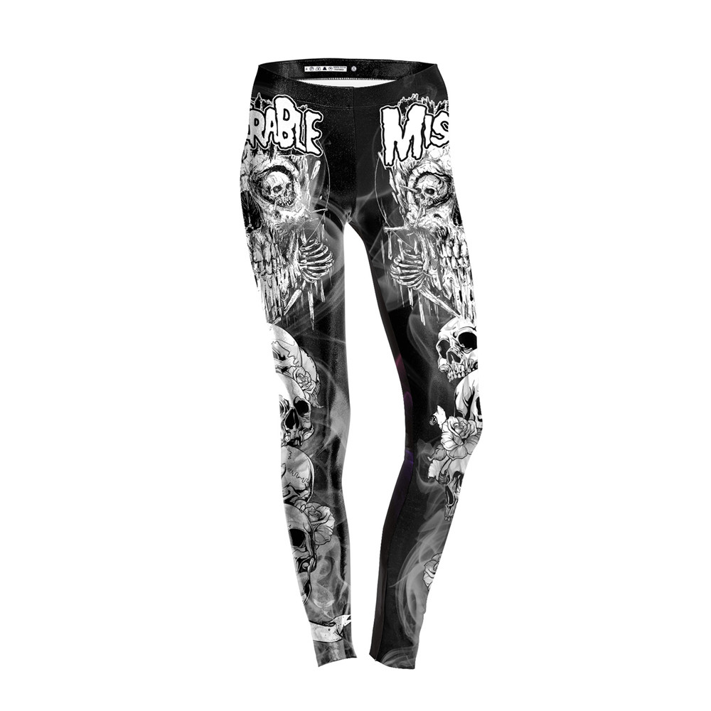 FCCEXIO 2019 New Arrival Skull Head Women Leggings Letter Gradient 3D Printed Pants Slim Fitness Working Out Woman Leggins