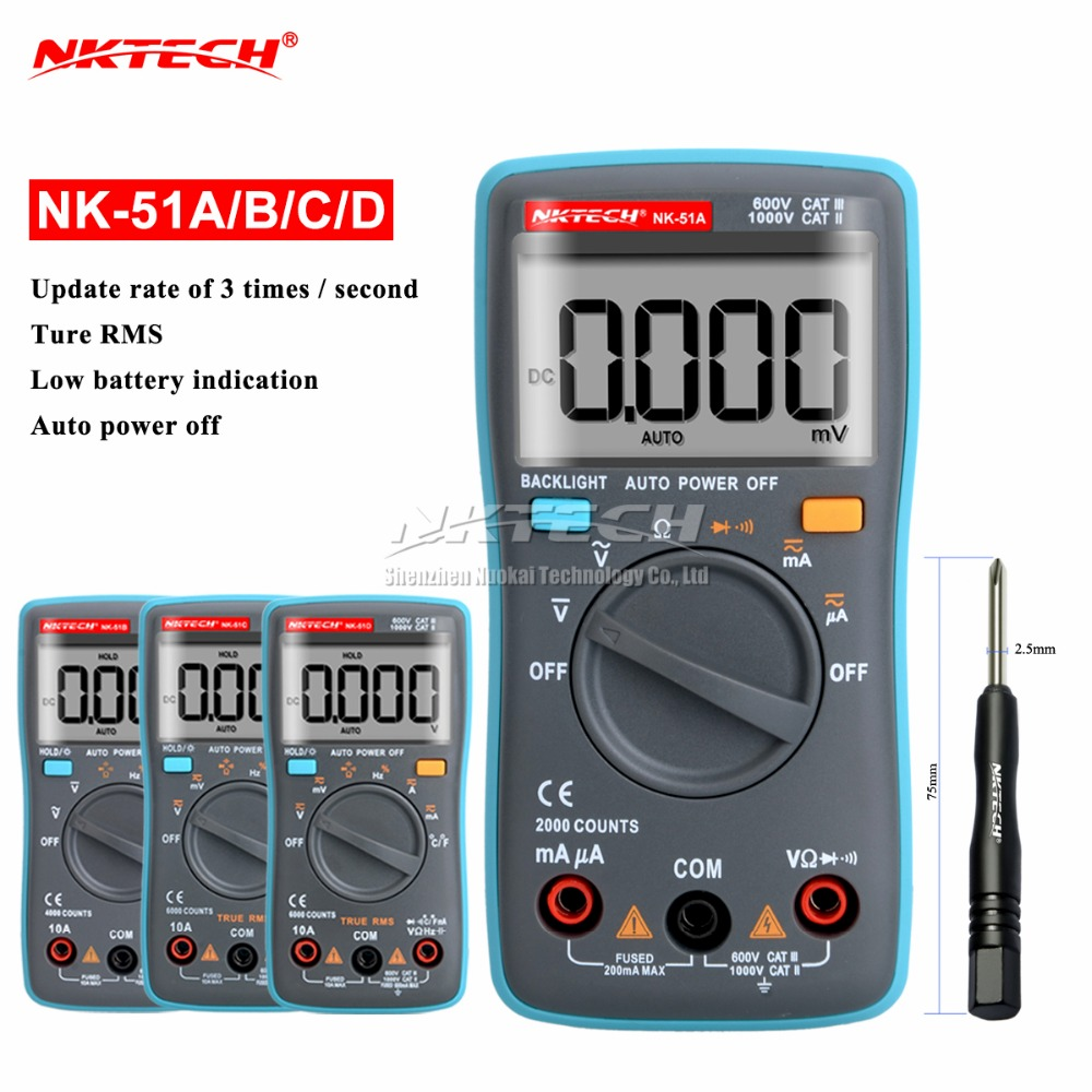 NK51A VS RM102 Diagnostic-tool Digital Multimeter 6000Counts Backlight AC/DC Ohm Ammeter Temperature NK51B NK51C NK51D LC meter auto digital multimeter 6000counts backlight ac dc ammeter voltmeter transform ohm frequency capacitance temperature meter xj23