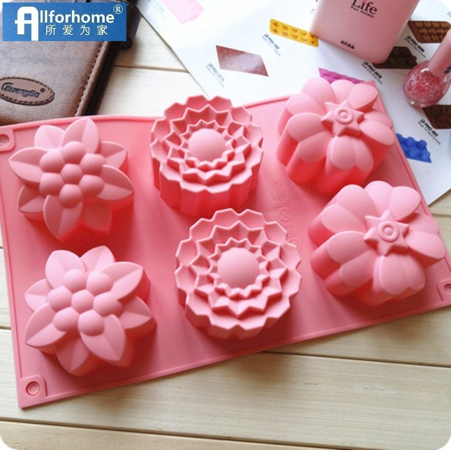 6 Flower 3D Silicone Soap Mold Muffin Cup Cake Baking Tray Cake Pan Clay Craft Art Soap DIY Mould Cake Chocolate Candle diy Mold