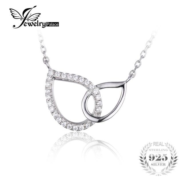 Jewelrypalace 925 sterling silver cubic zirconia teardrop cadeia fine jewelry mulheres colar colar de pingente de colar de 18 polegadas