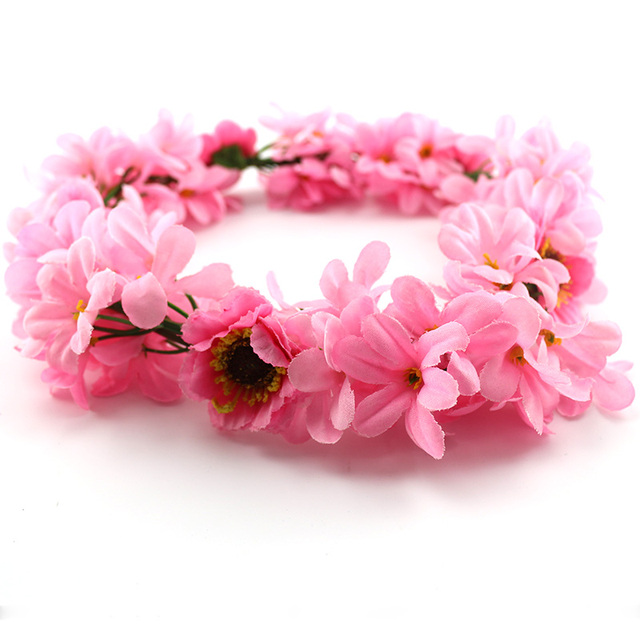 Fashion silk flower crown pink flower garland artificial christmas fashion silk flower crown pink flower garland artificial christmas garland hawaiian party decorations girls accessories wreath mightylinksfo