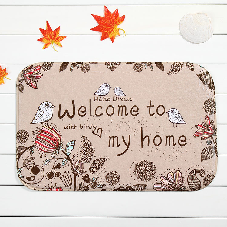 New Cute Owls Print Welcome Mats Outdoor Indoor Festive Decor Doormat Happy Gifts High Quality Coral Fleece Carpets Rugs 40*60cm