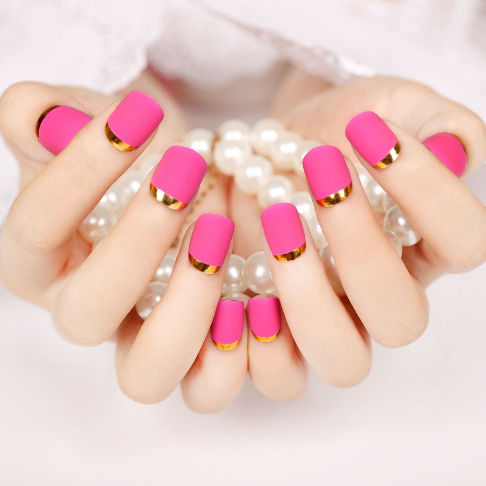 Fashion Matte Hot Pink Opposite French Nail Tips Lase False Nails ...