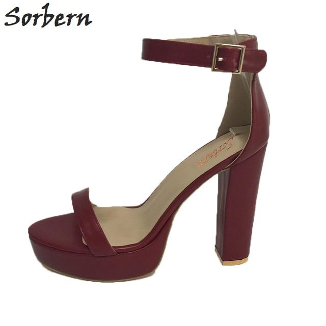 8b8fa56fe57 Sorbern Burgundy Ankle Strap Platform Women Sandals High Heel One Strap  Square Thick Heels Custom Color Size EU34-46