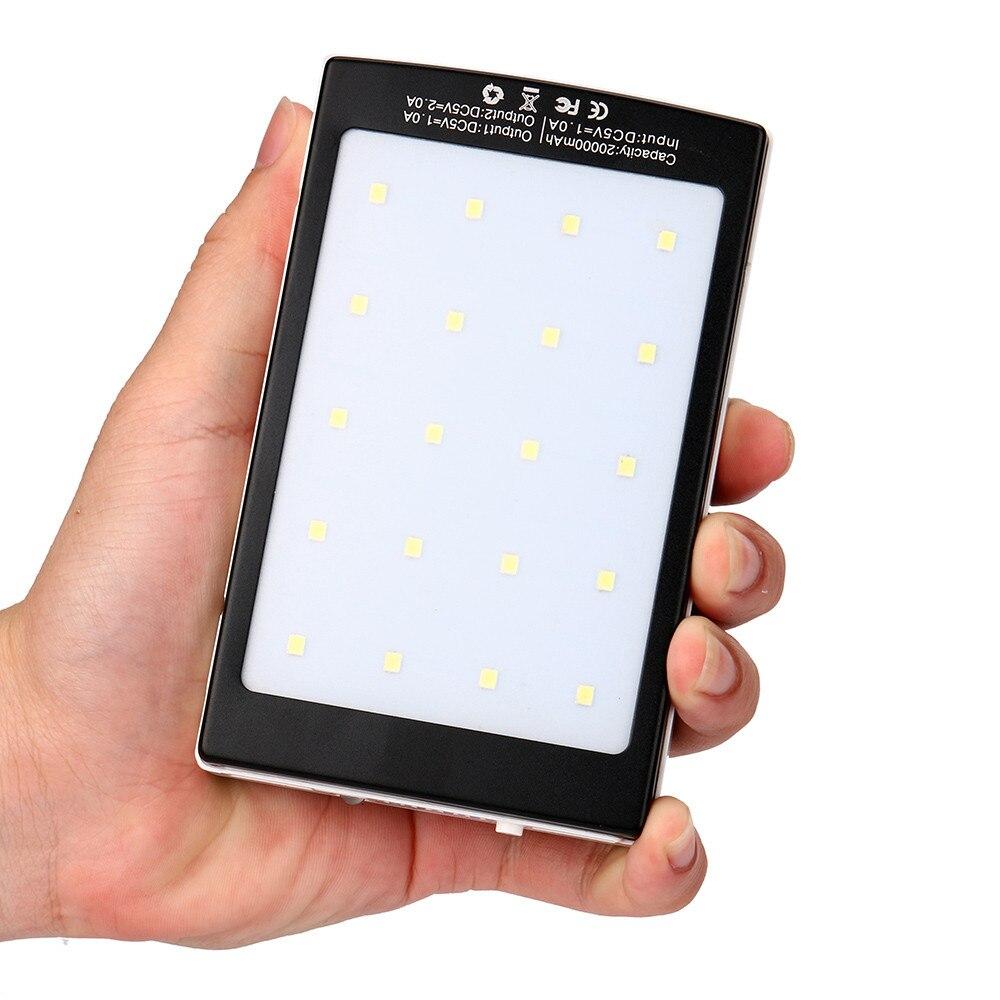 2017 Yeni 20000 mAh LED Çift USB Taşınabilir Güneş Pil Şarj Cihazı Cep Telefonu Şarj Için Samsung için iPhone X/8/7/6 S toptan