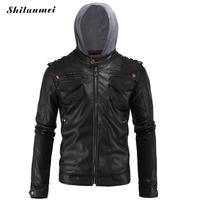 Men Motorcycle Jacket 2017 New Men S Warm Coat Black Pu Leather Jacket Big Size 4XL