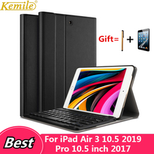 Kemile Leather Case For iPad Air 3 10.5 Keyboard Cover Wireless Bluetooth Keyboard for iPad Air 3 10.5 2019 For iPad Pro 10.5 kemile for ipad pro 9 7 wireless bluetooth keyboard folios case cover for apple ipad air 2 keypad for ipad 2018 9 7 inch