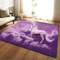 3D Dream Universe Horse Rug Living Room Carpet Girls Room Decoration Mat Baby Crawling Area Rugs Anti slip Soft Bedroom Carpets