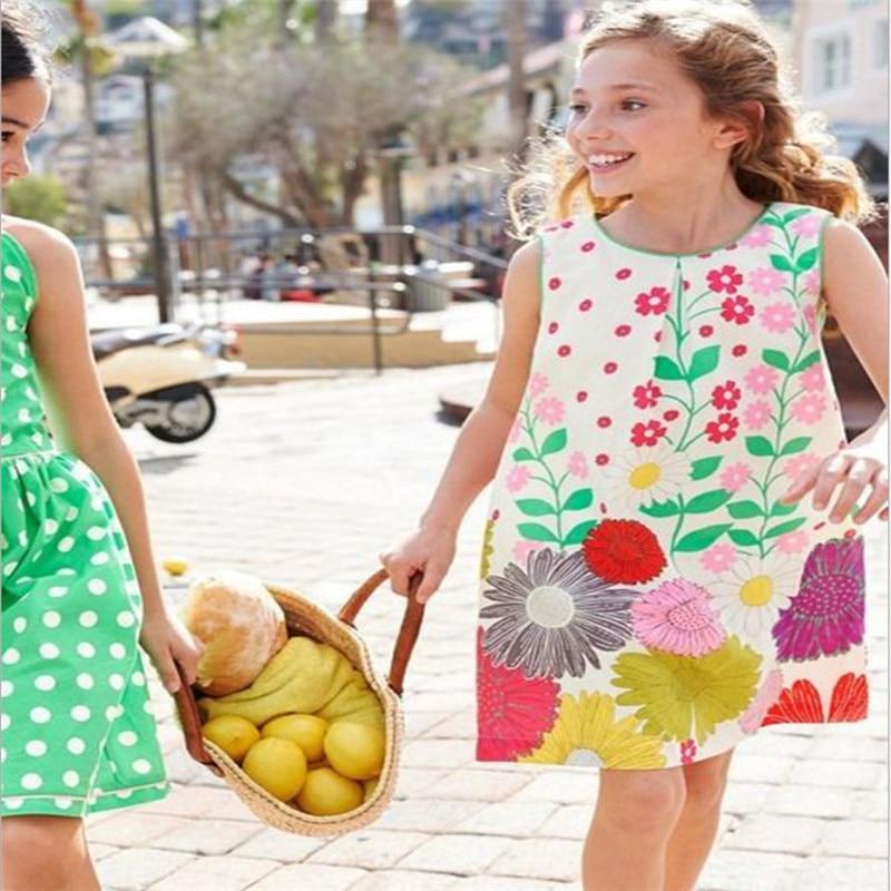 2-7T Princess Floral Baby Girls Dresses Sleeveless party wear cotton summer children dresses fashion new designs kids dresses 2